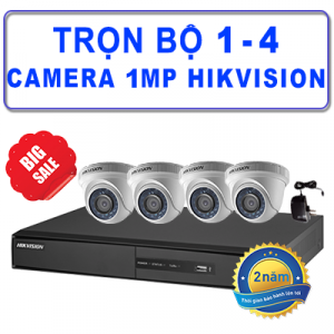 Trọn Bộ 1 – 4 Camera Dome TVI 1MP HIKVISION