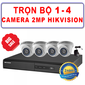 Trọn Bộ 1 – 4 Camera Dome TVI 2MP HIKVISION
